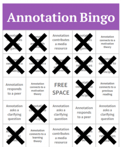 Image depicting an activity that uses bingo as a way for students to analyze annotations.